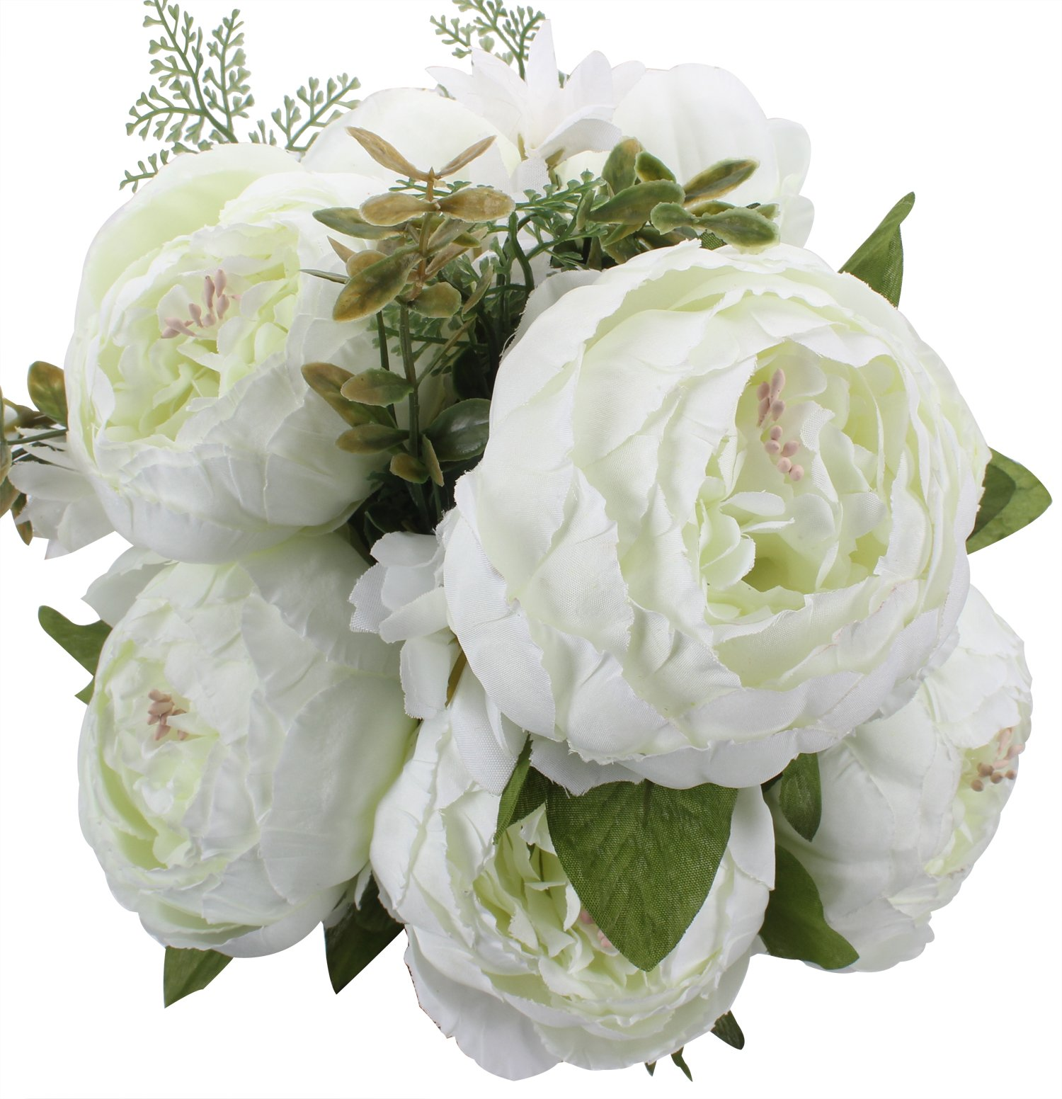 silk flower arrangements duovlo springs flowers artificial silk peony bouquets wedding home decoration,pack of 1 (spring white)