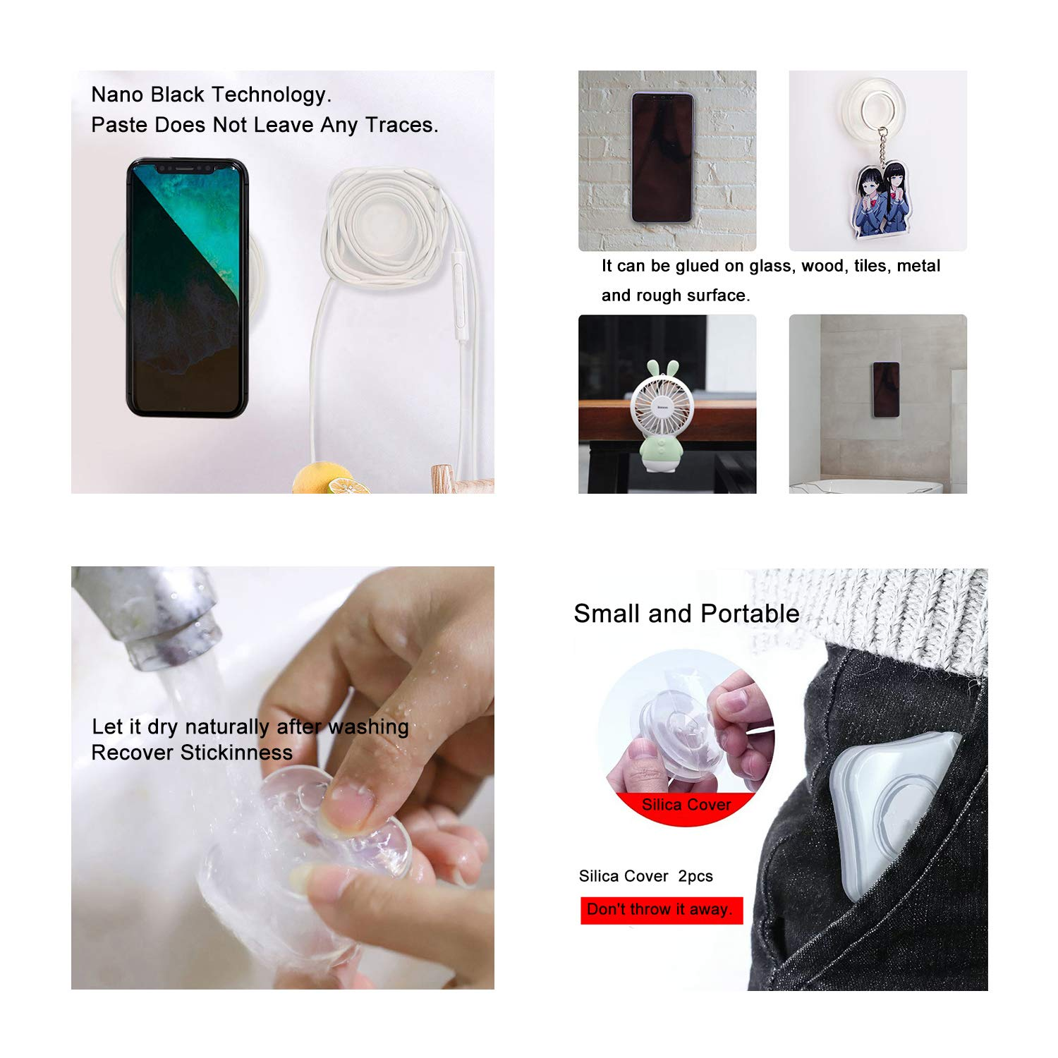 MULTAICH Nano Gel Pad Traceless Magic Stickers,Washable Multi-Functional Universal Sticky Car Phone Holder,Application for Car,Home,Office Storage of Various Small Device and Items(1 Pack)