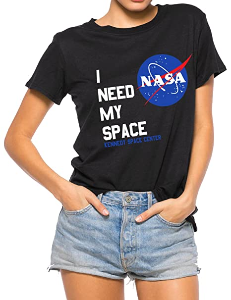 d0dbfb12a09 Image Unavailable. Image not available for. Color  Nlife Women Fashion I  Need My Space Shirt NASA Shirt Women NASA T Shirt Short Sleeve