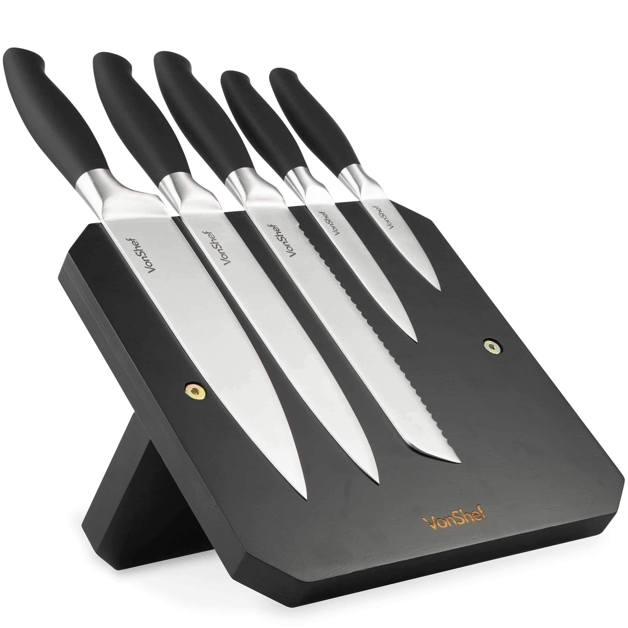 VonShef 5pc Piece Magnetic Knife Block Set/Stand / Holder – Includes Chef's, Paring, Carving Bread & Utility Knives with Ergonomic, Soft Touch Handles