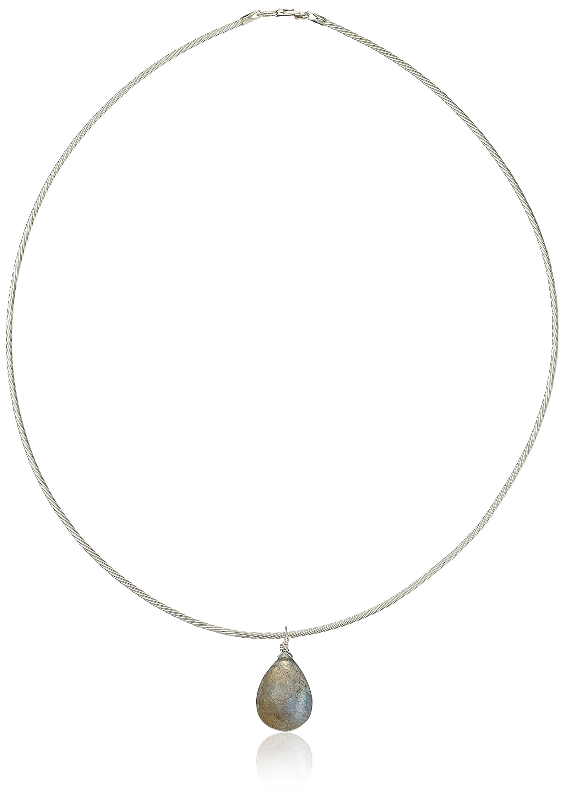 Faceted Labradorite Pendant Sterling Silver Chocker Chord Choker Necklace, 16''