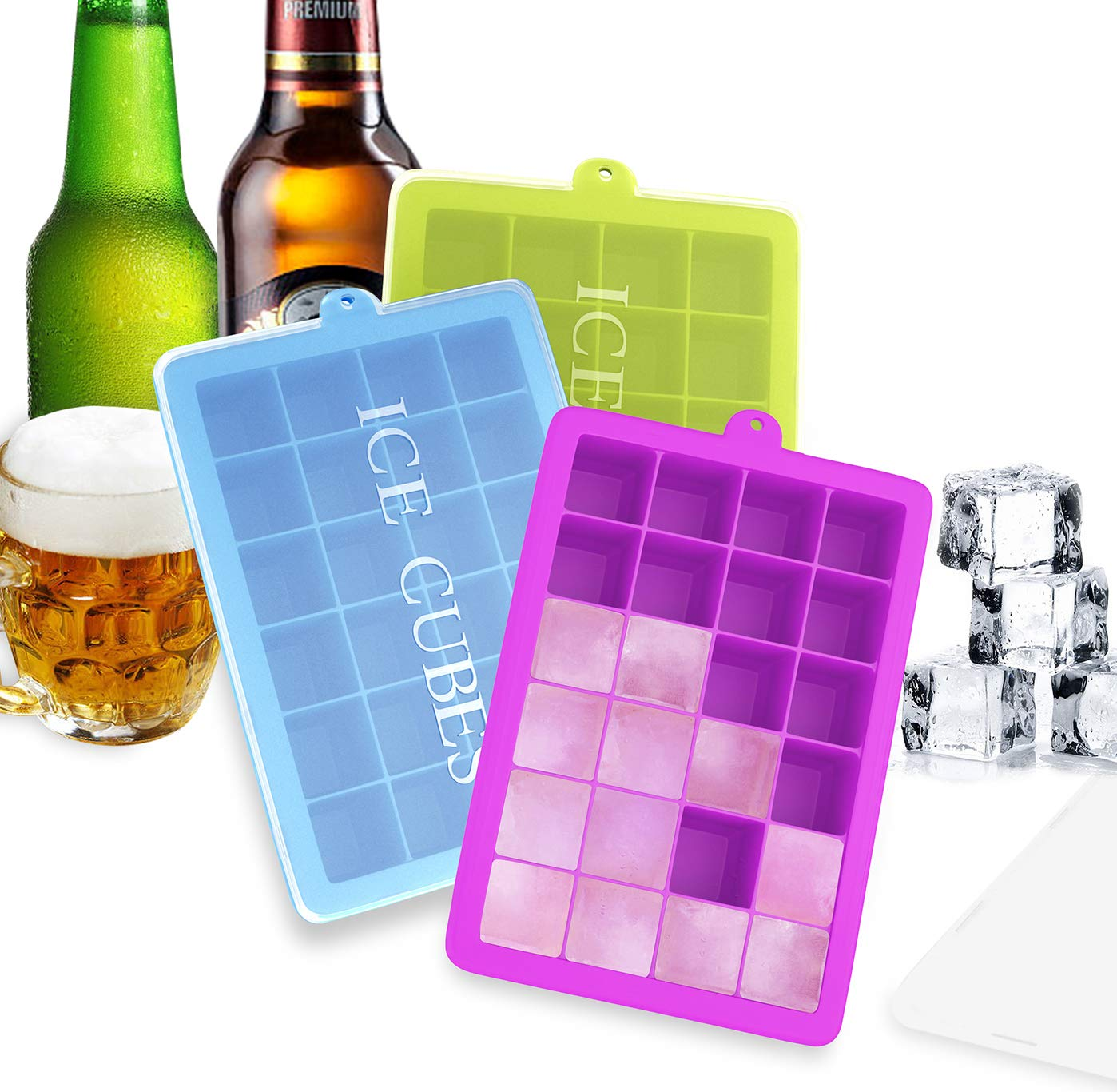 Ozera 3 Pack Silicone Ice Cube Molds, Ice Cube Trays with Lid, 1.06'' Small Easy Release Ice Tray 24 Cavities Square Ice Molds for Ice, Candy, Chocolate and More (Blue, Green, Purple) by Ozera