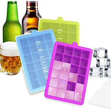 Ozera 3 Pack Silicone Ice Cube Molds, Ice Cube Trays with Lid, 1.06  Small Easy Release Ice Tray 24 Cavities Square Ice Molds for Ice, Candy, Chocolate and More (Blue, Green, Purple)