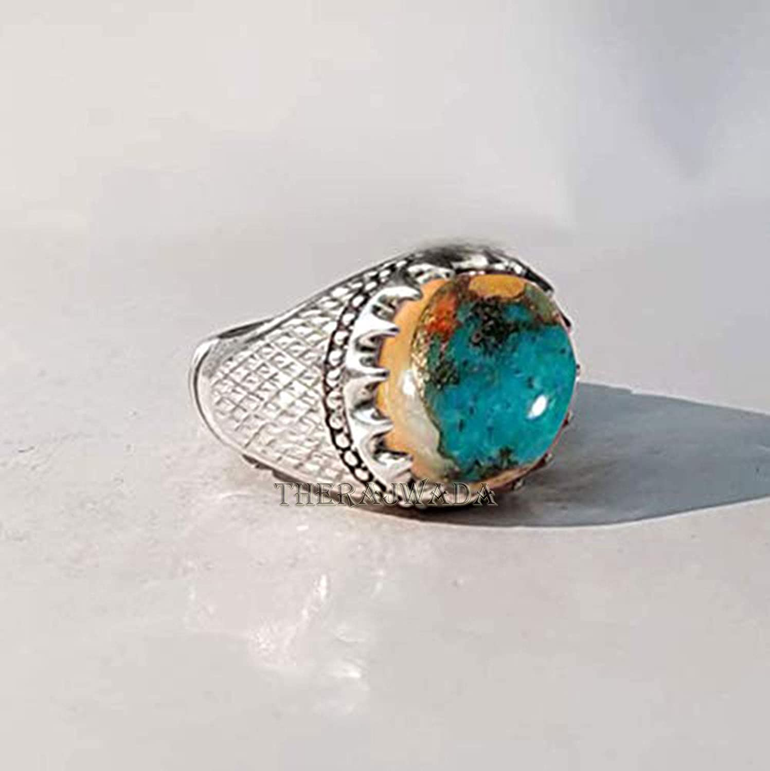 Metaphysical Healing Gemstone Ring Round Smooth Turquoise Ring December Birthstone Natural Copper Oyster Turquoise Ring Turquoise Ring Solid 925 Sterling Silver Ring Birthday Gift for Mens
