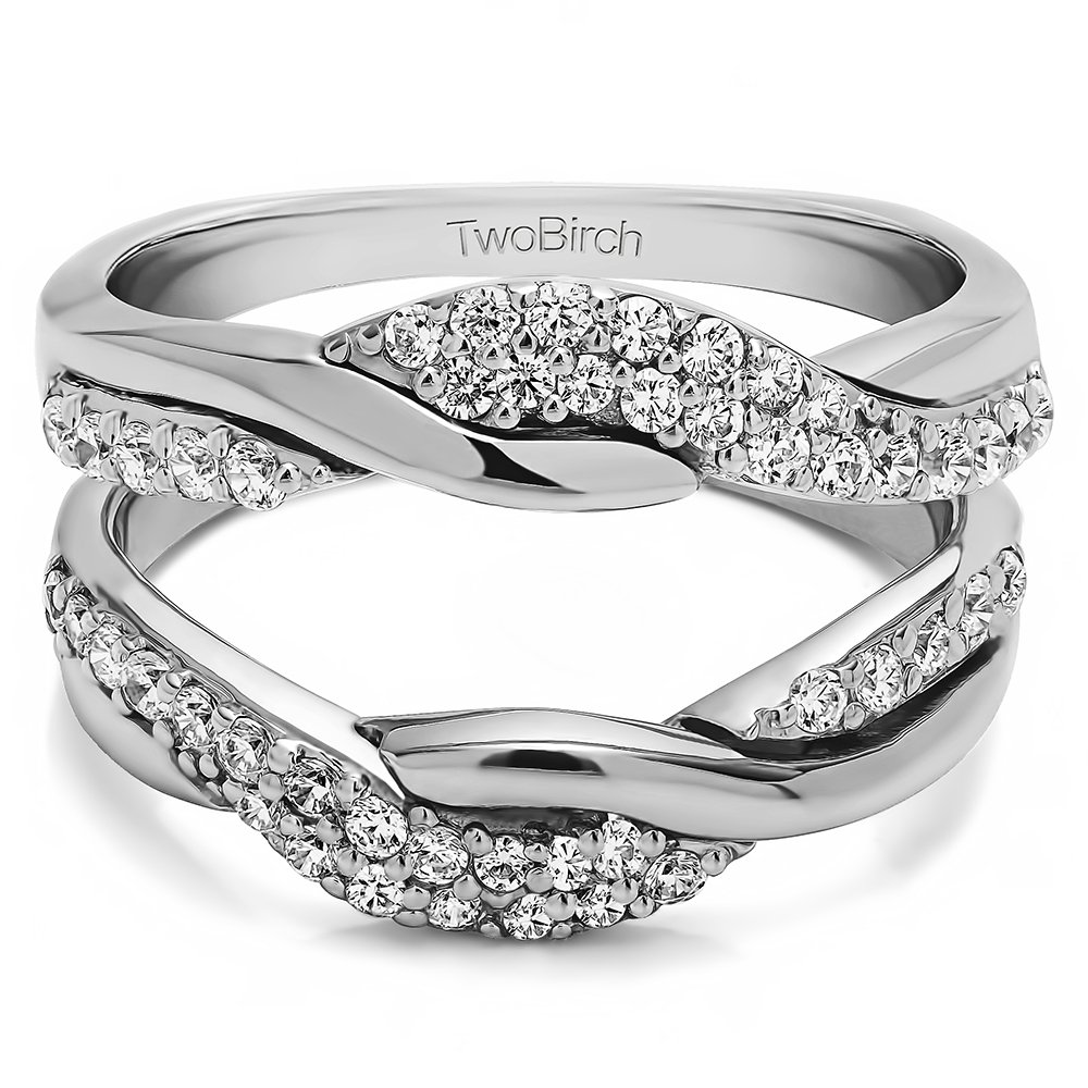 TwoBirch Bypass Wedding Ring Guard Enhncer with Cubic Zirconia in Sterling Silver (0.54 ct. twt.)