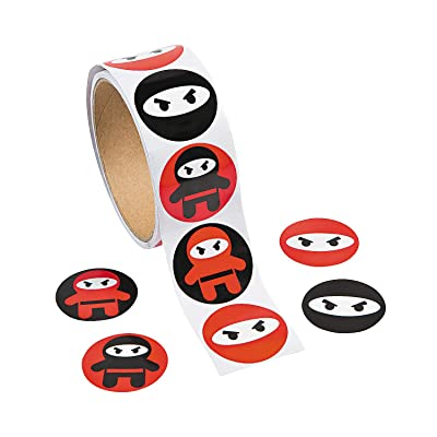 Fun Express Ninja Roll Stickers - Stationery - Stickers Roll - 1 Piece: Toys & Games