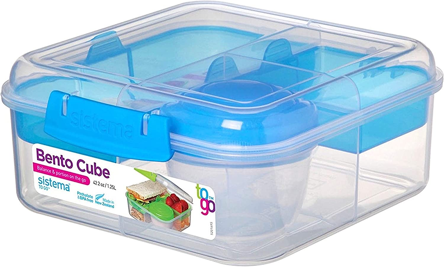 Sistema To Go Collection Bento Box Cube Plastic Lunch and Food Storage Container, 5.3 Cup, Multi-Compartment, Color Varies | BPA Free