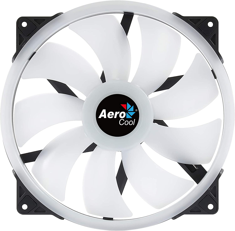 Aerocool DUO20, Ventilador 200mm, ARGB LED Dual Ring, Antivibración, PWM, Negro