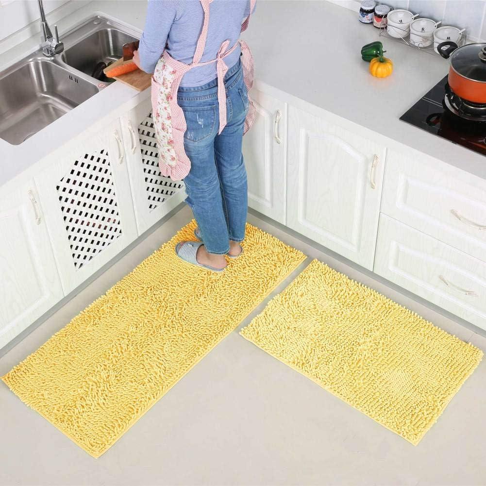 Machine Washable Bath Mat Thick Carpet for Door-Brown 40x60cm Water Absorbent Chenille Bathroom Rug Soft Non Slip 2-Piece Kitchen Rug Set 16x24inch +40x120cm 16x47inch