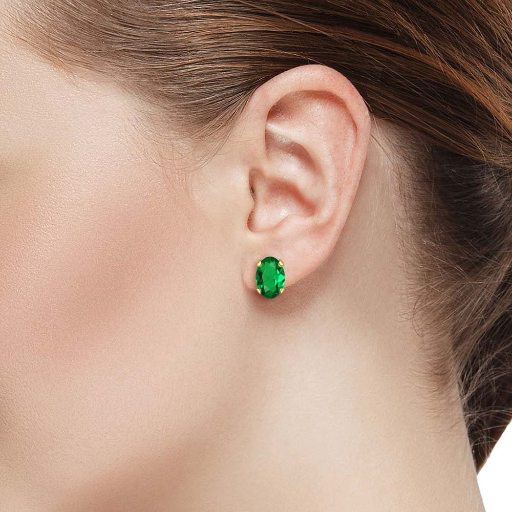 Gem Stone King 3.00 Ct Oval Green Simulated Emerald 18K Yellow Gold Plated Silver 27mm Length Dangle Earrings