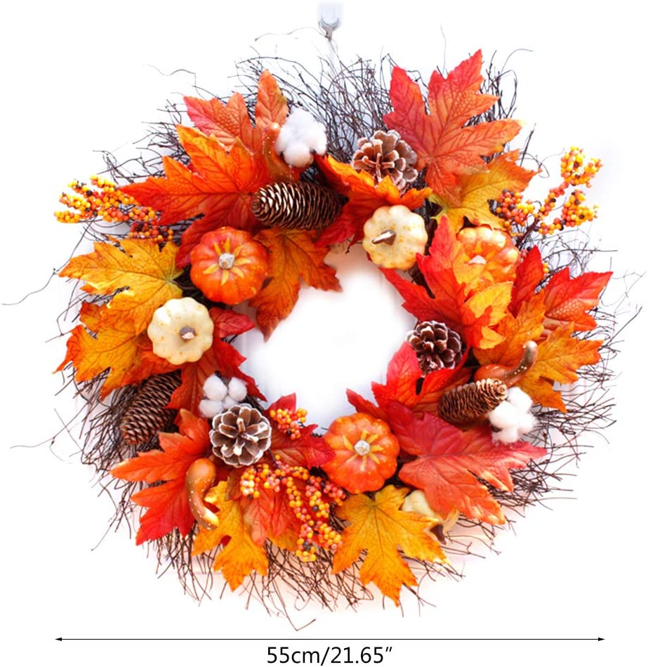 MYA Halloween Guirlande Jour De Thanksgiving Couronne Berry Feuille D/érable Automne Couronne Porte Avant D/écoration Thanksgiving Halloween Guirlande D/écorative