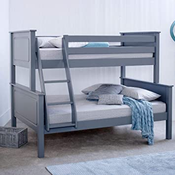 Grey Triple Sleeper Bed Happy Beds Vancouver Pine Wood Traditional