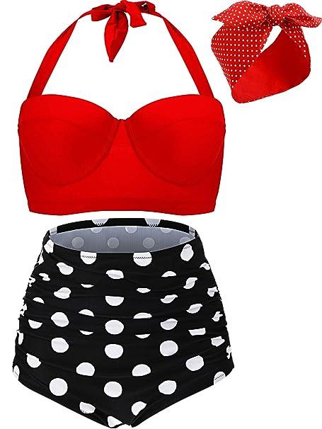 Bikini de Talle Alto con Aros de Polka Retro Vintage para ...
