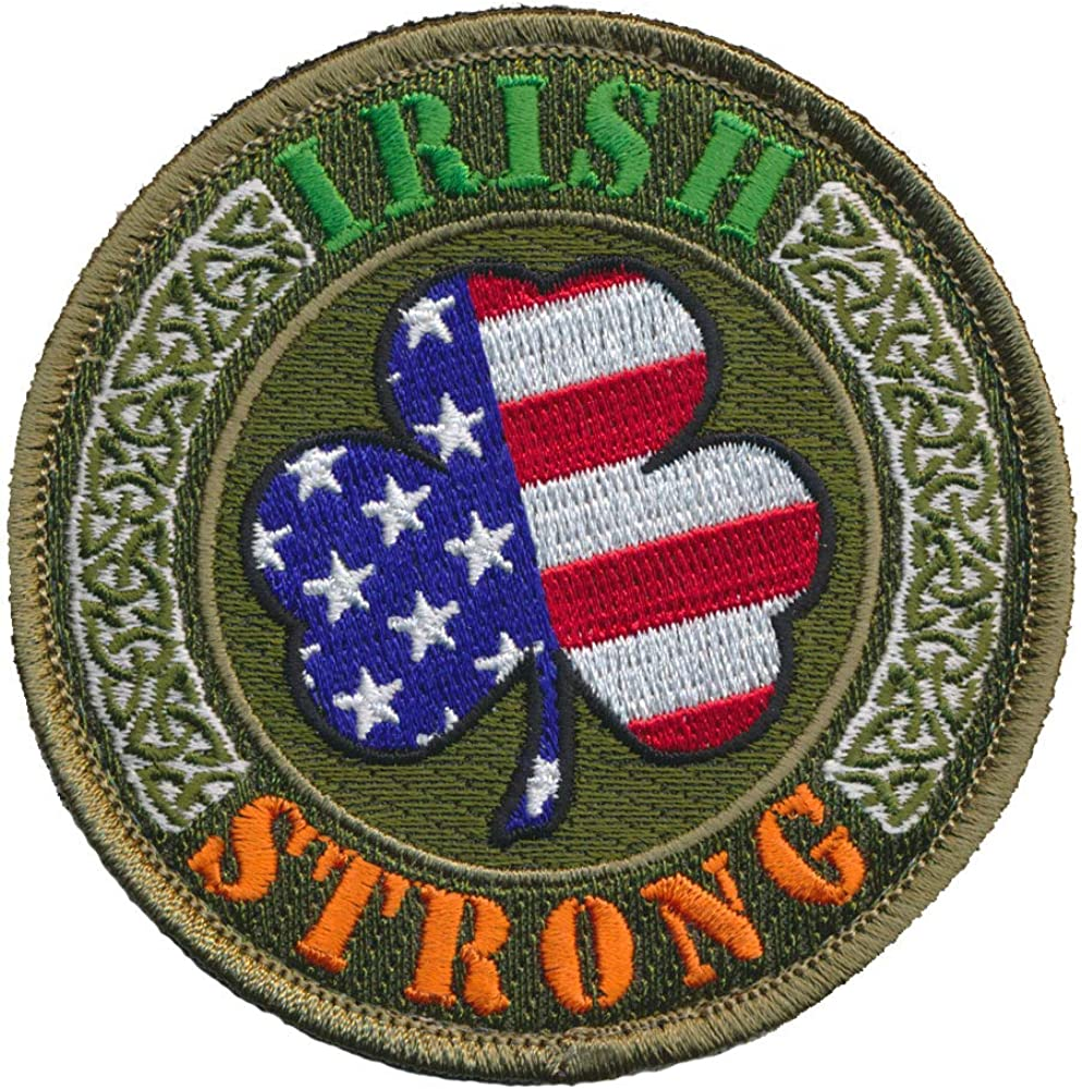 MADE IN USA WITH IRISH PARTS FUNNY PATRIOTIC BIKER IRON ON PATCH