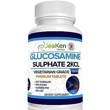 SULFATO DE GLUCOSAMINA PREMIUM 2KCl 1500 mg Por JeaKen - 365 tabletas (suministro para 1 año)   Glucosamina de alta resistencia   Grado vegetarianos y ...