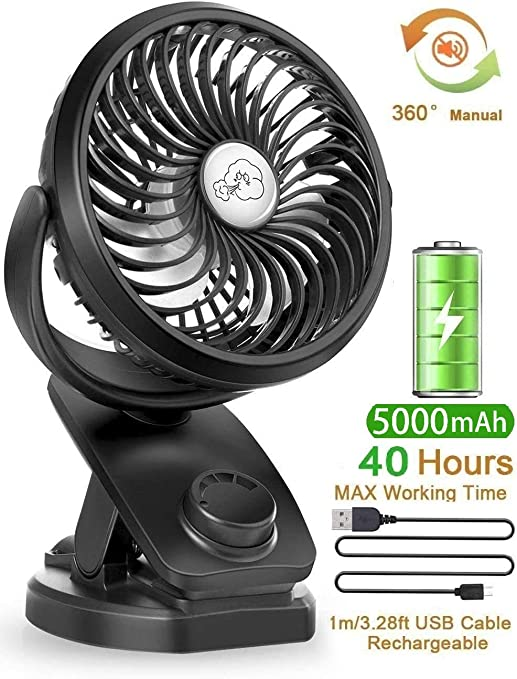 USB personal Desk fan Desk Fan Rechargeable Battery Operated Clip On Fan With 360/° Rotation Portable Personal USB Fan Strong Wind For Baby Stroller Car Office Dorm White for home office table