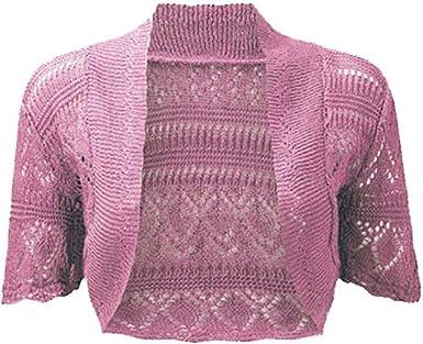Ladies Bolero Shrug Crochet Knitted Cardigan In Sizes 8 22 (1214, Pink)