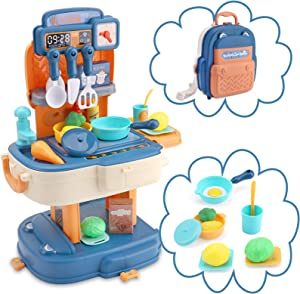 OWNONE 1 Mini Play Kitchen, 34 PCS Toy Kitchen Sets, Backpack Kitchen Pretend Playset, Cabinets Food and Pans, School Bag Play Kitchen for Kids, Girls, Boys Age 3 4 5 6+