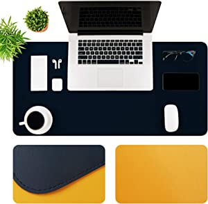 "MTOUOCK Desk Pad, Dual-Sided Multifunctional Desk Pad Protector, Upgrade Sewing PU Leather Desk Blotter Pad, Waterproof Desk Writing Mat for Office and Home (Dark Blue & Yellow, 31.5""×15.7"")"
