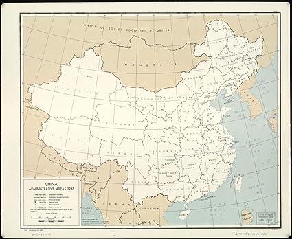 1948 World Map.Amazon Com 1948 Map China Administrative Areas 1948 Size 20x24