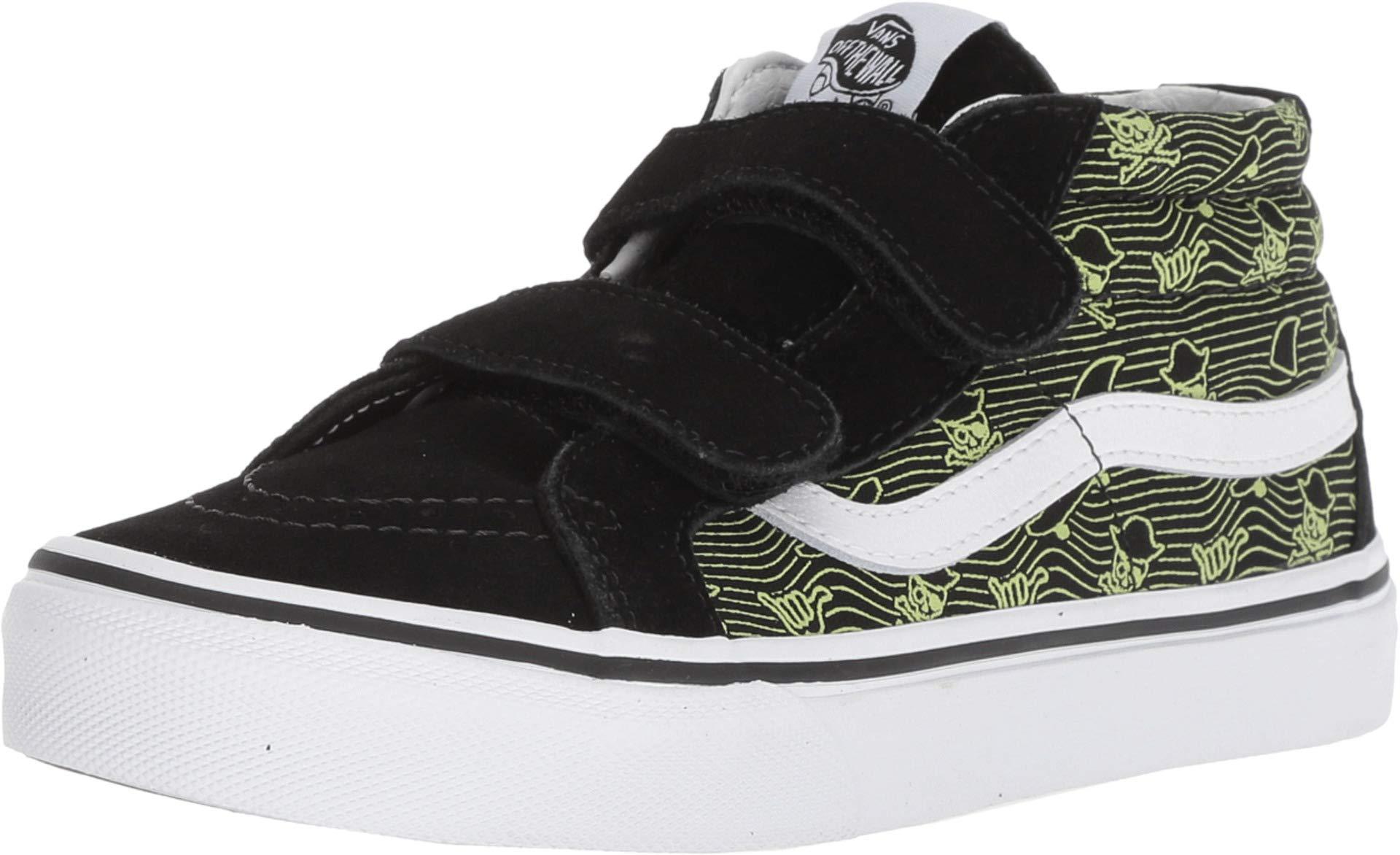 Vans Kid's SK8-Mid Reissue V Skate Shoe (3 Little Kid M, (Pixel Pirate) Black/Sharp Green/True White)