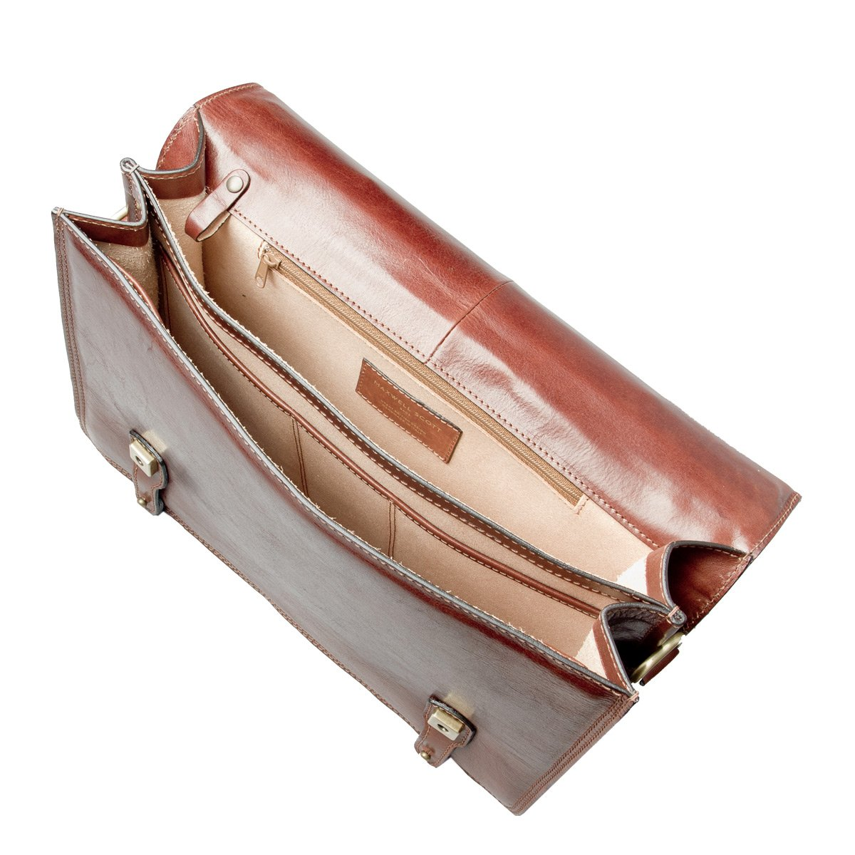 Maxwell Scott Personalized Luxury Tan Mens Leather Satchels (The Battista) - One Size by Maxwell Scott Bags (Image #6)