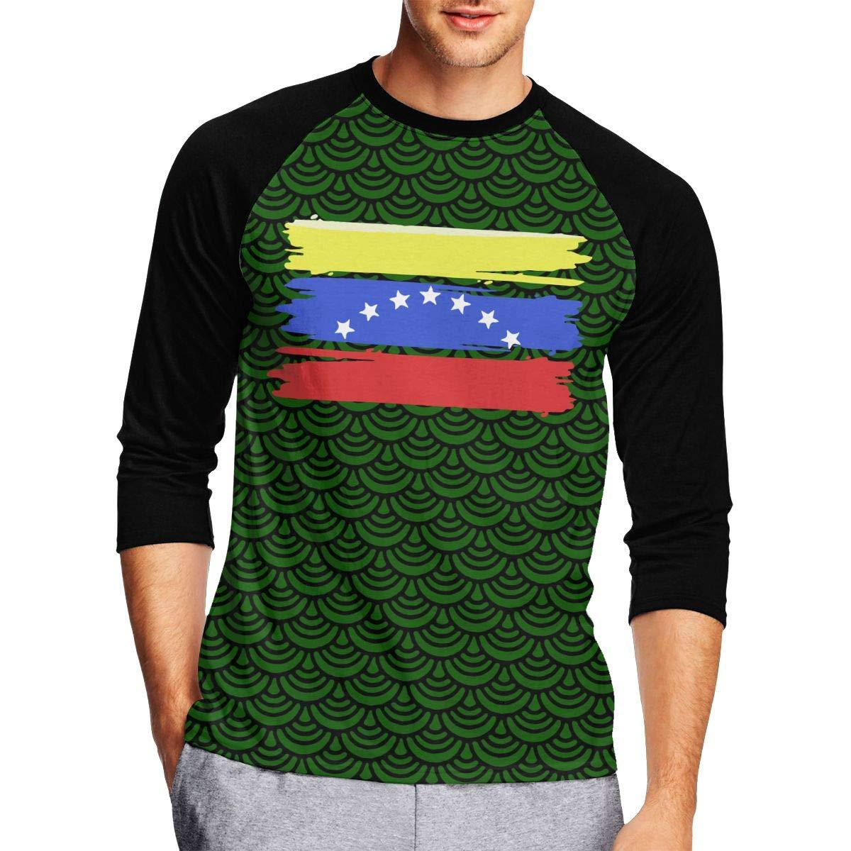 DFGHJZH-L Venezuelan Stars Flag Mens Fashion Adult Long Sleeve T Shirts