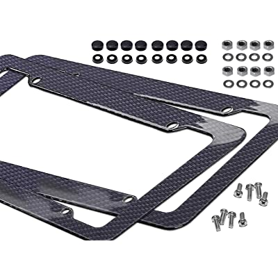 Noa Store Carbon Fiber Style License Plate Frames Front & Rear 2pc Set with Fasteners and Screws Glossy Finish: Automotive