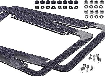 Plastic Carbon Fiber Style License Plate Frames Front /& Rear Bracket 2pc Set