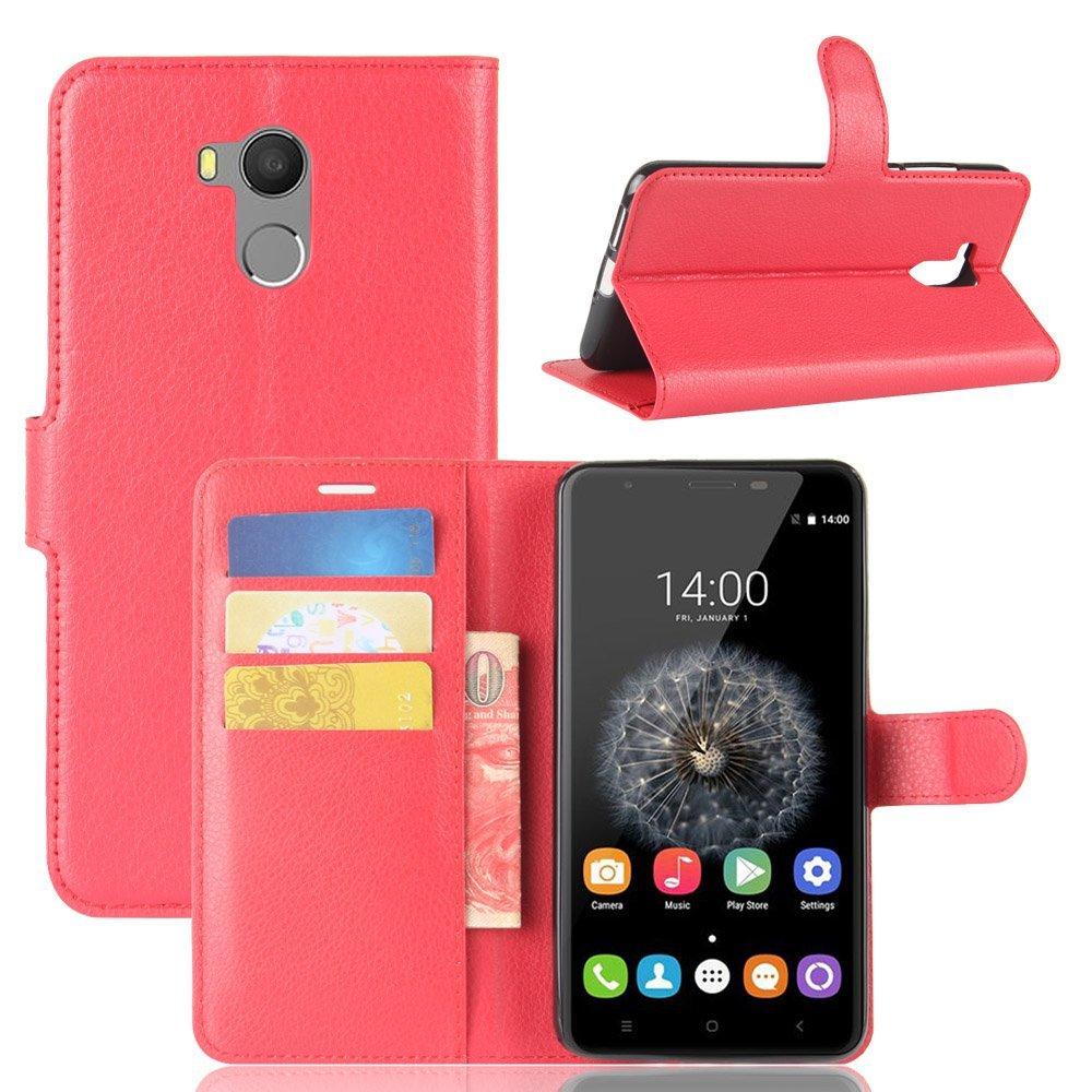 Guran® Funda de Cuero PU Para Oukitel U15 Pro Smartphone Función de Soporte con Ranura para Tarjetas Flip Case Cover Caso-rojo Oukitel U15 Pro-4