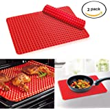 Bekith 2 Piece Non-stick Pyramid Shaped Silicone Baking Mat Cooking Sheets - 16 Inches X 11.5 Inches - Red