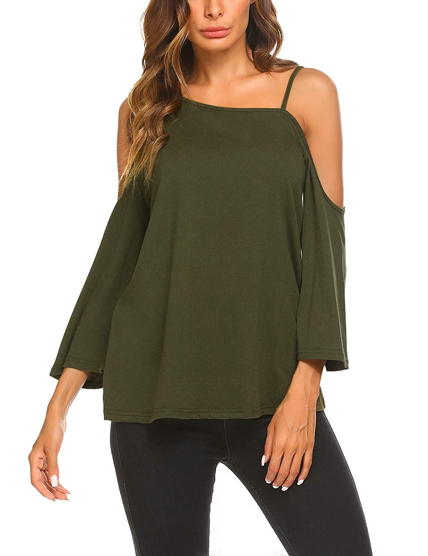 Carmy Green UNibelle Women's Summer Cold Shoulder Crochet Ruffle Sleeve Loose Beach Dress