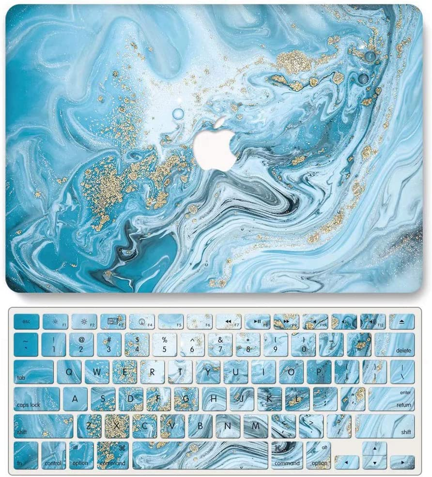 One Micron Case + Keyboard Cover Compatible with MacBook Air 13 Inch, Plastic Pattern Hard Case Shell Compatible MacBook Air 13.3 Inch (Model: A1369/A1466)-Dark Blue Marble