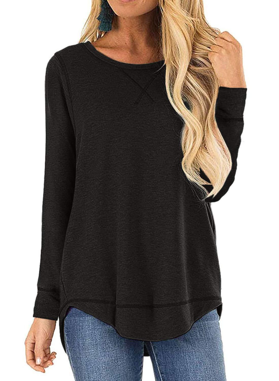 LANREMON Women's Tops Crewneck Shirts Cotton Long Sleeve/Short Sleeve T-Shirt Side Split Summer Tunic Top