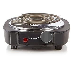 Continental Electric CE23309 Single Burner, 1100 Watt Coil Heating Element, Adjustable Temperature Control, Chrome Drip Pan Size, Black