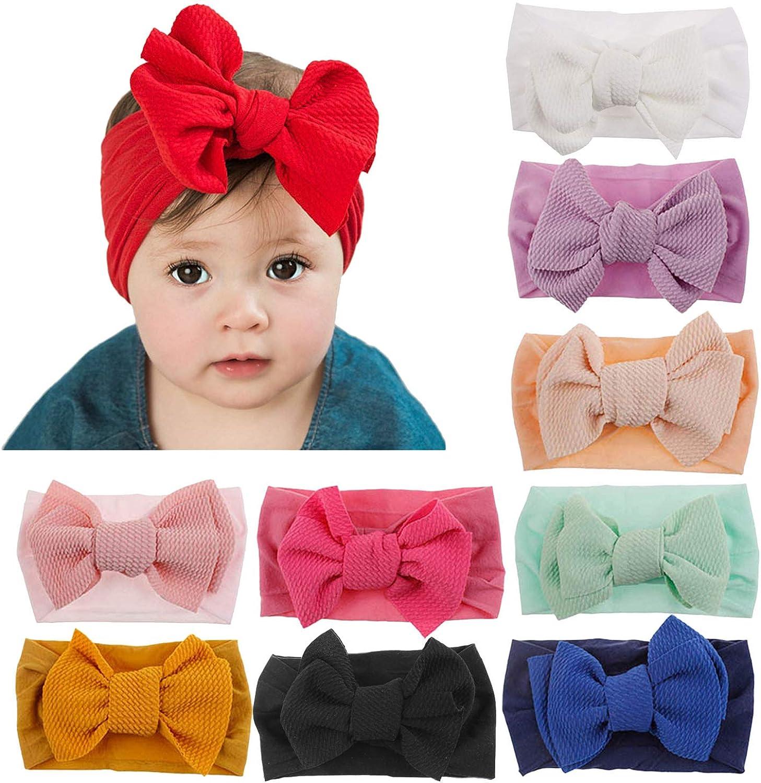 8pcs Kleinkinder Baumwolle Schleifenknopf Breit Krempe Haarbänder Kind Baby H tt