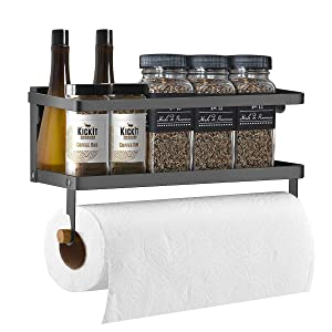 Kenvone Fridge Spice Rack & Magnetic Paper Towel Holder Refrigerator Spice Organizer Magnet Shelf, Black