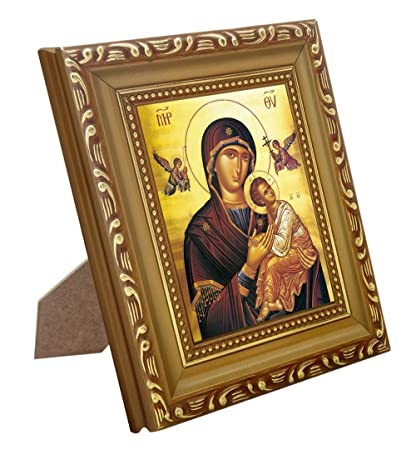 FengMicon Our Lady of Perpetual Help and Baby Jesus with Wood Frame  Christian Catholic Icon
