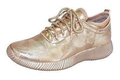 9b349c78e10 ROXY ROSE Women s Fashion Sneakers Lace Up Metallic PU Creepers Casual  Sports Shoes (5 B