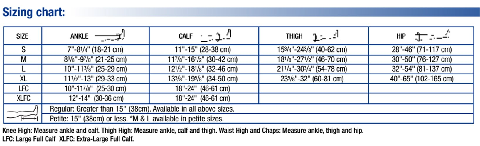 Relief 30-40 mmHg Closed Toe Thigh High Support Sock with Silicone Top Band Size: X-Large, Color: Black
