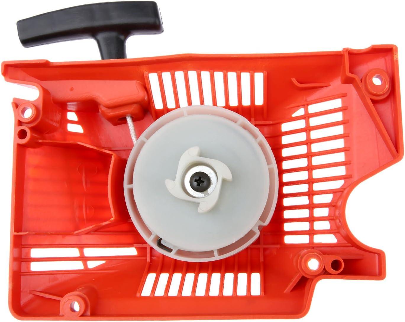 Bowarepro - Conjunto de Arranque de Retroceso único para Motosierra China 4500 5200 5800 CC, 52 CC, 58 CC, Motosierra, arrancador para Motosierra China 4500 5200 5800 Rojo