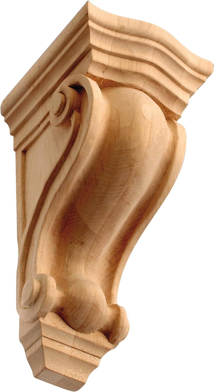 7-1//8 Hand-Carved Solid Red Oak Hardwood Ornamental Corbel IWW37-S-OAK