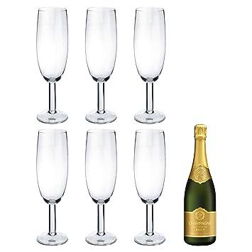 Beba pista de Gigante Champagne flauta de cristal - cristal de 750 ml Prosecco - Pack de 6: Amazon.es: Hogar