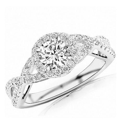 1.17 Carat t.w. Round Twisting Split Shank Eternity Love Halo Style Diamond Engagement Ring H-I I2 C...