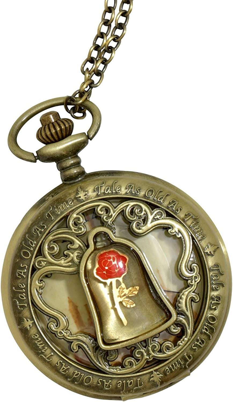 Beauty and The Beast Disney La Bella y la Bestia Enchanted Rosa Reloj de Bolsillo Collar