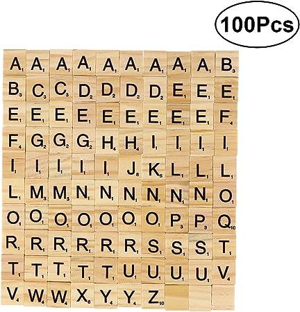 ULTNICE 100pcs Cartas de la letra Cartas de madera Juegos de los azulejos de Scrabble del reemplazo para deletrear Scrapbooking: Amazon.es: Juguetes y juegos