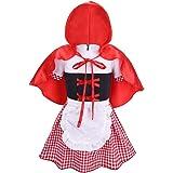 Freebily Disfraz Caperucita Roja Bebé Niñas de Fiesta Carnaval Cosplay Vestido de Princesa Cumpleaños Niñas Infantil Recién Nacidos Conjunto con Sombrero Capa