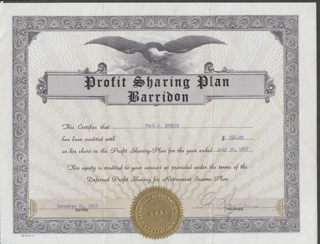 Barridon Aviation Profit Sharing Plan 1957 Certificate For 24100