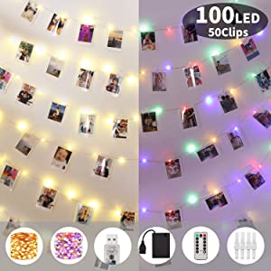 Will Well Upgraded String Lights with Photo Clips Battery & USB Powered, 100 LED 33 Ft Fairy Lights with Remote Timer, Copper Wire Twinkle Lights for Bedroom Wall Wedding Christmas Decor