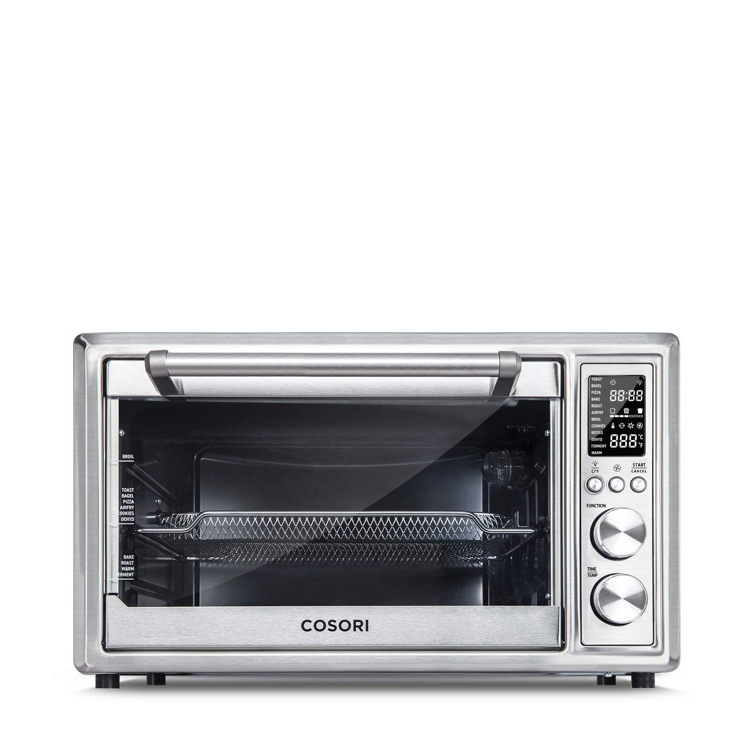 Cosori Air Fryer Toaster Oven, 32 QT,1800W Hot Convection Oven,Toast,Bake,Pizza, Rotisserie, Food Dehydrator and Keep Warm, Nonstick Interior and Brushed Stainless Steel, 2 Year Warranty (Renewed) by COSORI